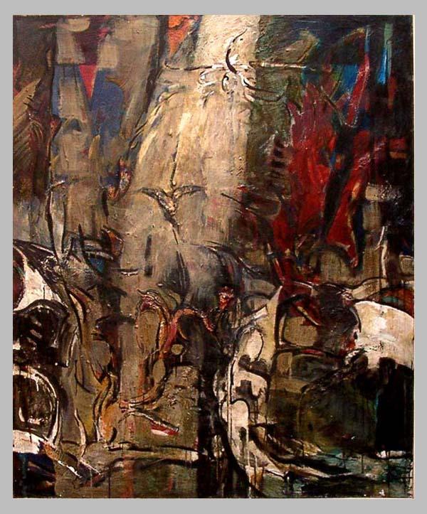 Grand torrent à l'oiseau. 160 x 130  Acrylique sur toile ..  2000