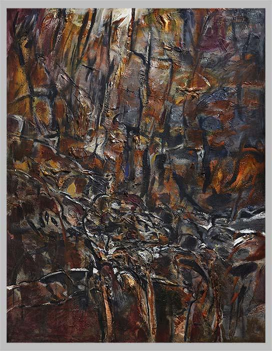 Torrent Rouge et  Bleu    Acrylique sur toile ... 160x130 2009